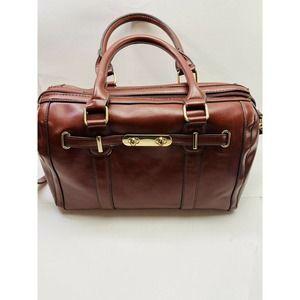 Cognac Brown Duffle Satchel Bags Gold